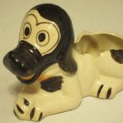 Vintage Japan Porcelain Ceramic Pottery Figural Black White Dog Planter Pot