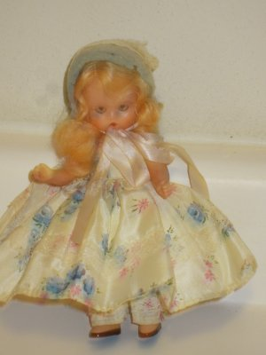 Original Vintage Plastic Nancy Ann Storybook Doll Sleep Eyes Pink Flowered Dress
