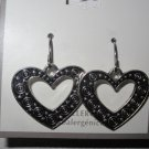 BRAND NEW Ornate Silver Tone Dangling Heart Hypo Allergenic Pierced EARRINGS