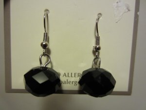 BRAND NEW Dangling Faceted Black Glass Ball Hypo Allergenic Pierced EARRINGS