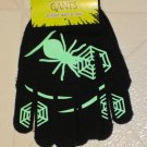 NEW Halloween Black Green Glow in Dark Spider & Web Gloves ONE SIZE FITS MOST