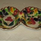 Signed Made in Italy Italian Majolica Fruit Pattern 2 Section Serving Dish