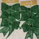 Brand New Set of Six Glittery Green Bow Christment Tree Ornaments or Gift Bows