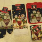 Brand New Christmas Snowmen Theme Oven Mitt Kitchen Towel Dish Cloth 5 Pc Set