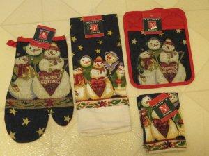 Brand New Christmas Snowmen Theme Oven Mitt Kitchen Towel Dish Cloth 5 Pc Set