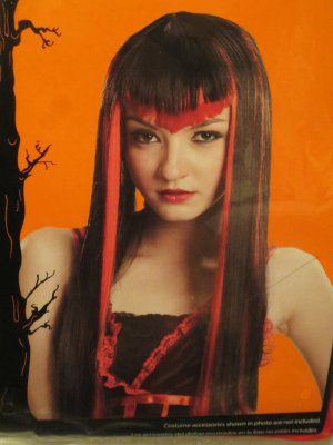 New Adult Long Black & Pink Hair Halloween Costume Glamour Vampire Celebrity Wig