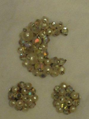 Vintage Mid-Century Laguna Crystal & Faux Pearl Pin Brooch & Clip Earrings Set