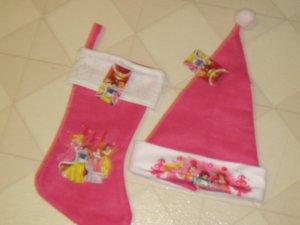New Disney Princess Pink Felt Christmas Stocking & Santa Hat Snow Belle Ariel
