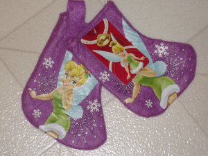 New Disney Tinker Bell Fairy Purple Set 2 Felt Christmas Stocking Ornaments