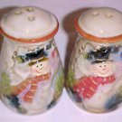 Brand New Porcelain Christmas Winter Snowman Snowmen Salt & Pepper Shakers