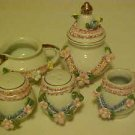 MATCHING SET PORCELAIN CREAMER SUGAR BOWL TOOTHPICK HOLDER SALT & PEPPER SHAKERS