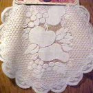 "NEW PAIR 2 WHITE LACE 16"" ROUND FRUIT PATTERN DOILIES"