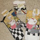 FUN BRAND NEW 4 PC  ITALIAN CHEF OVEN MITT KITCHEN TOWEL DISHCLOTH SET