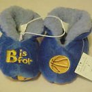 BRAND NEW TODDLERS SZ 4 B IS FOR BASKETBALL PLUSH BLUE SLIPPERS