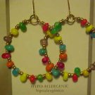 BRAND NEW DANGLING COLORFUL BEAD GYPSY HOOP PIERCED EARRINGS