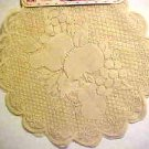 "Brand New Pair Ecru Tan Lace 16"" Round Fruit Pattern Lace Doilies"