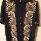 Croft & Barrow Rayon Mens Tropical Hawaiian Camp Shirt Black Foliage Size L