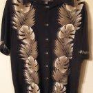 Croft & Barrow Rayon Mens Tropical Hawaiian Camp Shirt Black Foliage Size L