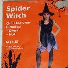 Brand New Childrens Girls Spider Witch Halloween Costume Size M 7-8 Hat Dress