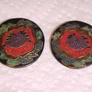 VINTAGE 1980S RED HIBISCUS FLOWER PATTERN BLACK & RED PIERCED EARRINGS