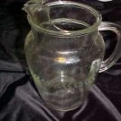 VINTAGE 1950S LAUREL WREATH  PATTERN ETCHED CLEAR GLASS BEVERAGE PITCHER
