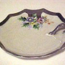 Vintage Made In Japan Porcelain Silver Decorated Cup Handle Candy Dish Plate