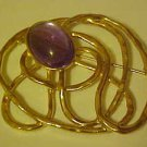 FABULOUS AMETHYST PURPLE STONE GOLD TONE PIN BROOCH