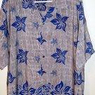 Ocean Current Mens Tropical Hawaiian Camp Shirt Gray Blue Floral Size L