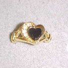 LOVELY VINTAGE GOLD TONE BLACK STONE & CLEAR RHINESTONE HEART SHAPED RING