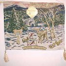 BRAND NEW CHRISTMAS DEER IN WINTER SNOW SCENE TAPESTRY WALL HANGING