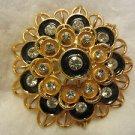 Vintage Mid-Century Clear Rhinestone Black Enamel Gold Tone Flower Pin Brooch