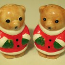 "Brand New Porcelain 3"" Tall Christmas Teddy Bear Salt & Pepper Shakers"