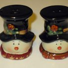 "Brand New Porcelain 3"" Tall Snowman Snow Men Christmas Salt & Pepper Shakers"