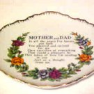 VINTAGE Porcelain Mother & Dad Parents Tribute Poem Decorative Wall  Plate