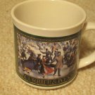 1991 Enesco Currier & Ives Couples Ice Skating 9 oz Ceramic Coffee Mug Cup