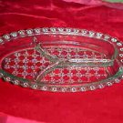 Elegant Vintage Intricate Pattern 3 Part Section Clear Glass Relish Serving Dish