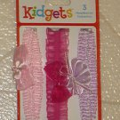ADORABLE Kidgets Brand New Set 3 Elasticized Baby Headbands Pink Fuscia Purple