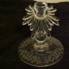 LOVELY VINTAGE ELEGANT FLORENTINE NEW MARTINSVILLE ETCHED GLASS CANDLE HOLDER