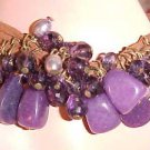 BRAND NEW PURPLE DANGLING BEADS & ROCKS BRACELET