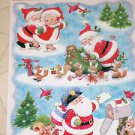 New 6 pc Santa & Mrs. Claus Deliverying Cards Toys Static Window Clings USA