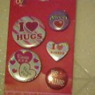 BRAND NEW SET OF 5 VALENTINES DAY PINBACK BUTTONS BE MINE/I LUV HUGS