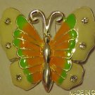 LOVELY COLORFUL ENAMELED RHINESTONE BUTTERFLY PIN BROOCH
