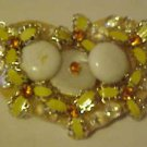 LOVELY FOLK ART HAND MADE YELLOW WHITE STONE AMBRT RHINESTONE HEART PIN BROOCH