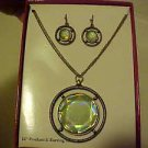 BRAND NEW LIGHT GREEN MEDALLION NECKLACE & PIERCED EARRINGS JEWELRY SET