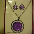 BRAND NEW PURPLE FACETED MEDALLION NECKLACE & PIERCED EARRINGS JEWELRY SET