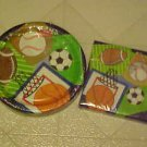 BRAND NEW TEAM SPORTS BASEBALL SOCCER PAPER PLATES & NAPKINS PARTY SET