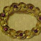 LOVELY GOLD TONE AND PEARL & AMETHYST RHINESTONE PIN BROOCH