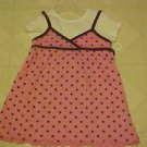 BRAND NEW GIRLS SZ 3T PINK BROWN POLKA DOT JUMPER DRESS & WHITE TOP