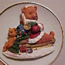 PORCELAIN CHRISTMAS PLATE 3D TEDDY BEAR ON SLED W/TOYS