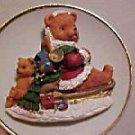 PORCELAIN CHRISTMAS PLATE 3D TEDDY BEAR ON SLED W/TOYS